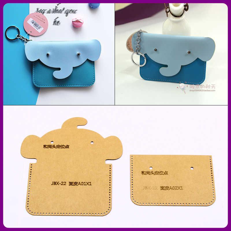 1 ensemble zéro portefeuille étui en papier moule modèle bricolage manuel plaque en cuir modèle petit éléphant carte enveloppé kraft papier modèle