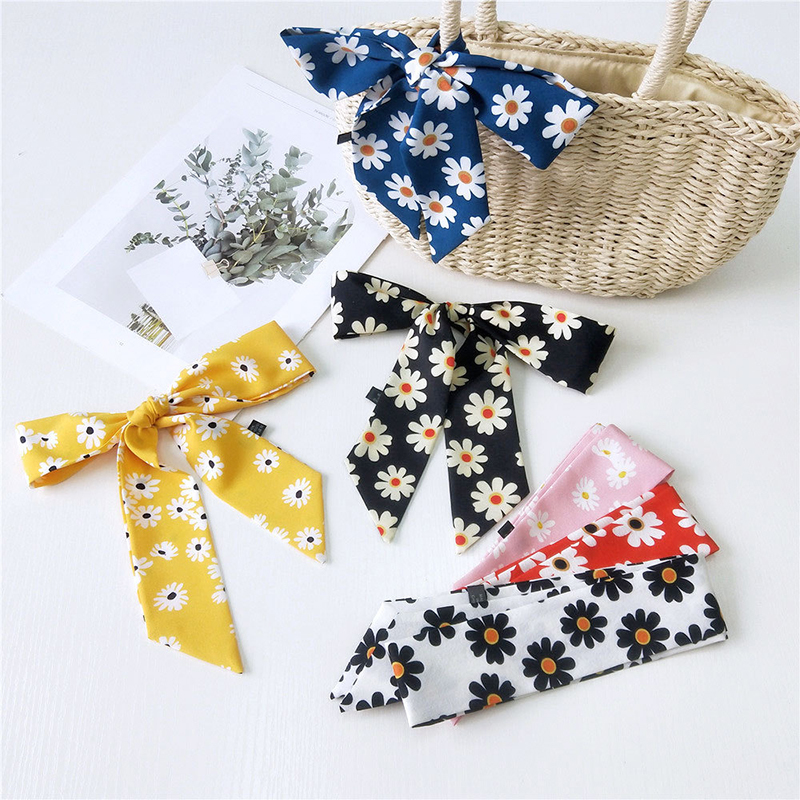 New Neckerchief Daisy Print Scarves Charming Bag Belt Fashion Silk-like Scarves Riband Scarves Floral Hats Bags Neck Neckerchief