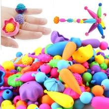 Купить с кэшбэком 100pcs/set New children's string beads Variety toys cordless wild girls DIY hand-made toys birthday gifts kids necklace rings