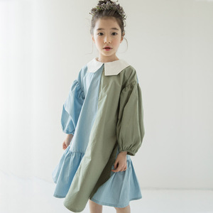 Image 4 - 2021 Spring Girls Dress Two Colors Patchwork Children Cotton Dress Baby Princess Dress Personality Toddler Ruffles Dress,#3796