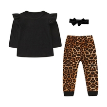 TAutumn Baby Girl Long Flare Sleeve Blouse Tops Leopard Trousers With Headband Outfits Clothes flare sleeve chiffon long blouse