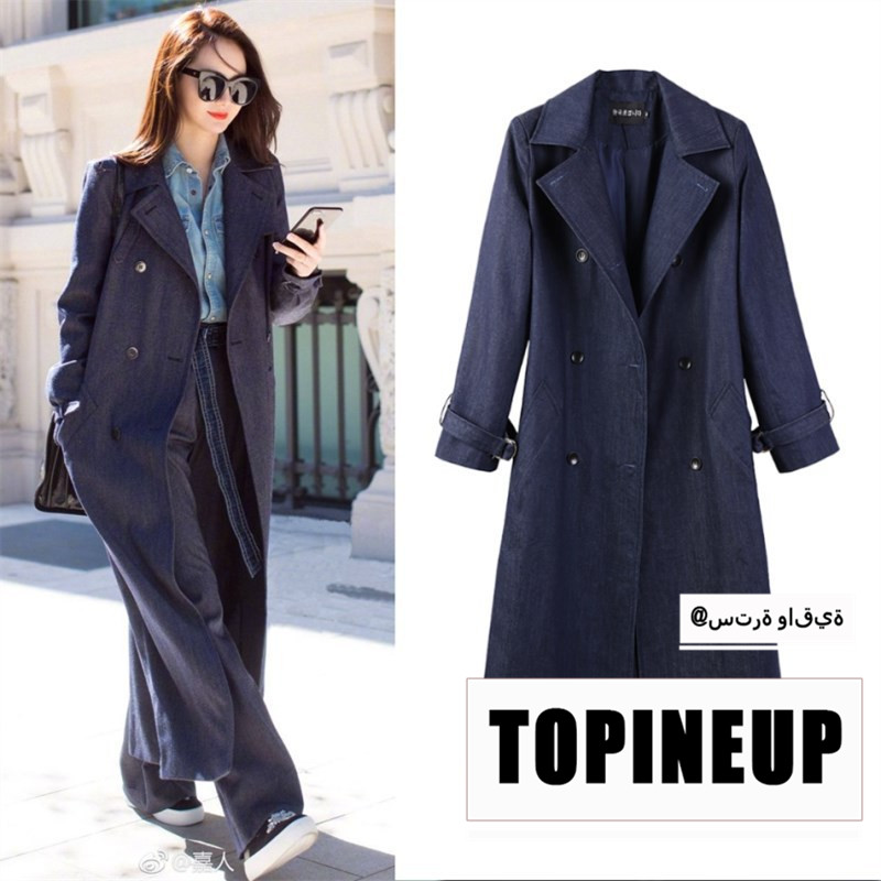2019 New Autumn Denim   Trench   Coat For Women's Windbreaker Long Sleeve Two Pockets Loose Oversize Coat Female Fashion Clothing