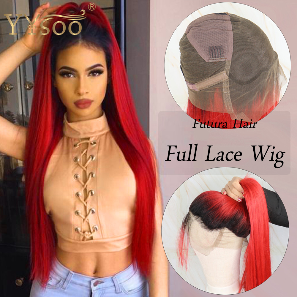 YYsoo T1b/Red Long Silky Straight Futura Synthetic Full Lace Wigs With Babyhair Dark Roots Ombre Red Ponytail Wig For Women Girl