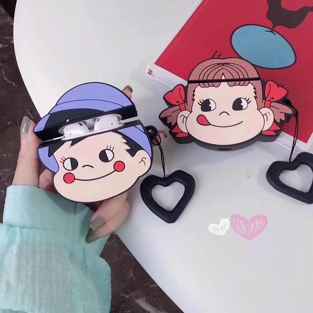 lovely couple 3D cartoon girl boy Silicone soft case For Apple new Airpods 1/2 Cover Wireless Bluetooth Earphone headset case