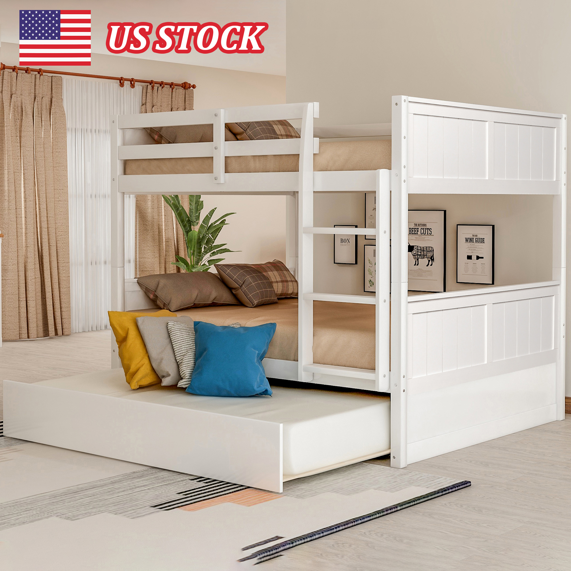 White Solid Pine Wooden Twin Loft Full Bunk Bed Strong Sturdy Frame For Adults Kids 79 5 X 57 Safe Sleeping Beds With Slats Beds Aliexpress
