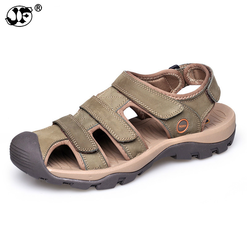 Men Sandals Genuine Leather Fashion Summer Shoes Men Slippers Breathable Men's Sandals Causal Shoes Leather