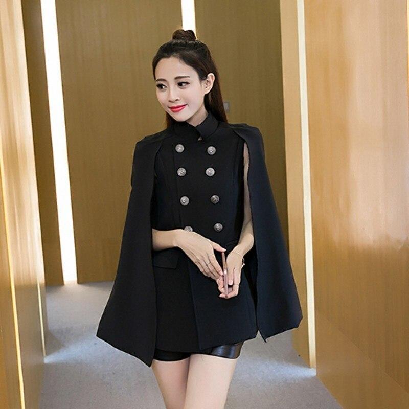 New Brand Qualities Womens Double Breasted Cloak Blazer Office Ladies Slim Fit England Style Female Windbreaker Coats Streetwear