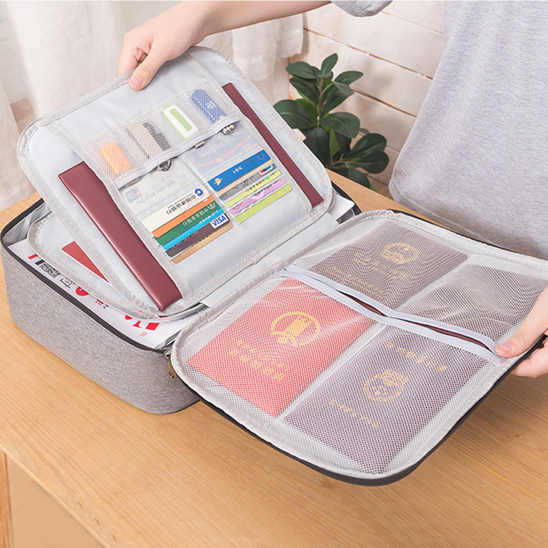 Waterproof Storage Document Bag Portable Household Certificate Finishing Pouch Travel Business Trip Organizer Case Accessories