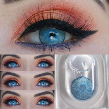 Hot 1 Pair New York Blue Natural Colored Contact Lenses Beautiful Pupil colored lenses for eyes Cosmetic colored eye lenses