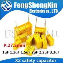 5 adet/grup X2 güvenlik kapasitörler 27.5mm 275VAC 275V 1.2uf 2uf 2.2uf 3.3uf 1.5uf 1uf 1000nF 1200nf polipropilen film kondansatör