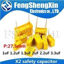 5 pçs/lote X2 Segurança capacitores 27.5 milímetros 2 275VAC 275V 1.2uf 2.2uf 3.3uf 1.5uf uf 1200nf 1000nF 1 capacitor de filme de Polipropileno