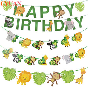 Happy Birthday Party Decoration Kids One Year 1st Birthday Banner Paper Bunting Garland Jungle Safari Party Baby Shower Boy Girl