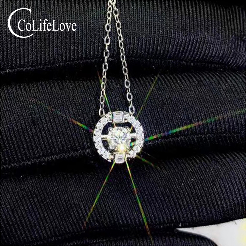 CoLife Jewelry 0.3ct D Color Moissanite Pendant For Young Girl 925 Silver Moissanite Necklace Pendant Birthday Gift For Woman