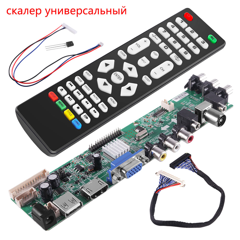 Aokin Universal Scaler Kit 3663 TV Controller Driver Board Digital Signal DVB-C DVB-T2 DVB-T Universal LCD UPGRADE 3463A Russian