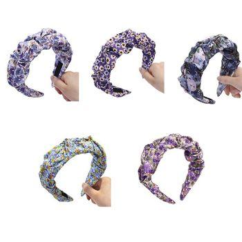 Korean Purple Series Women Wide Hair Hoop Sweet Pastoral Lavender Flroal Print Bandana Pleated Wrinkled Vintage Headband