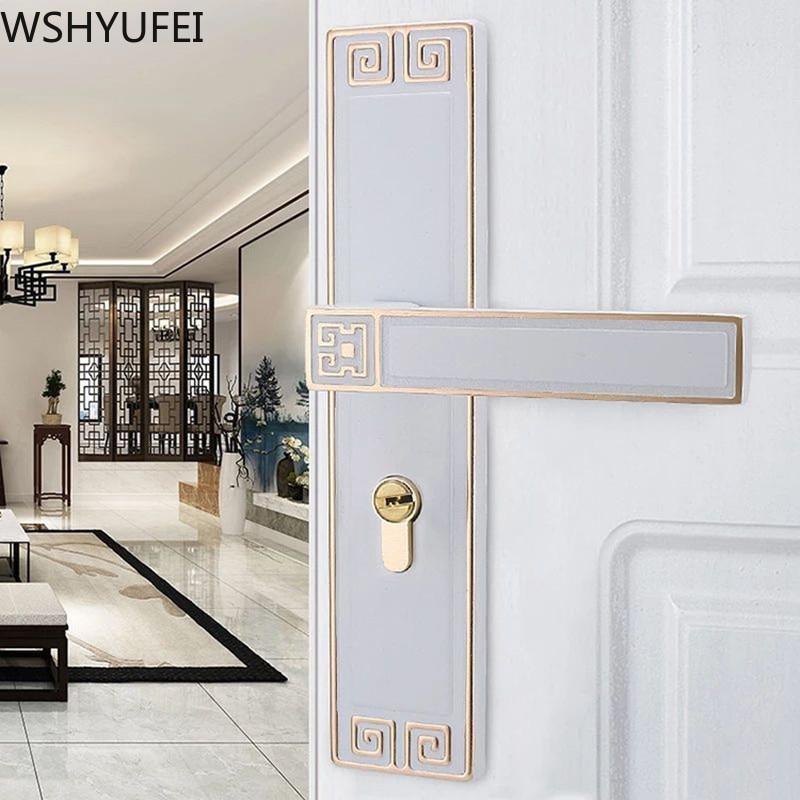 Chinese Aluminum alloy silent door lock Bedroom living room Door Handle Lock Cylinder Security Door Lock Household Hardware