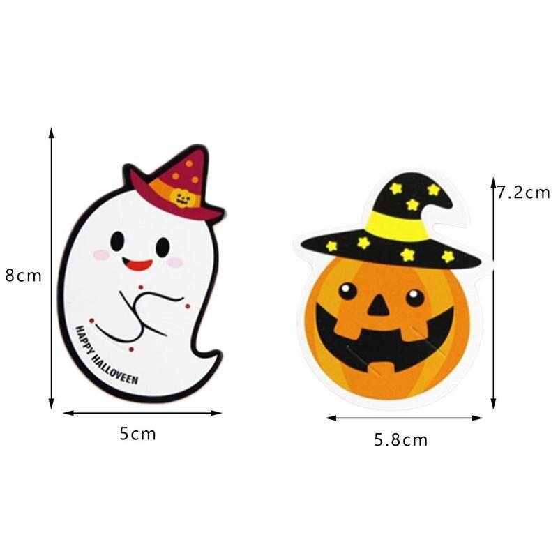 Cute Creative 50PCS Halloween Pumpkin Ghost Lollipop Paper Card Halloween Cake