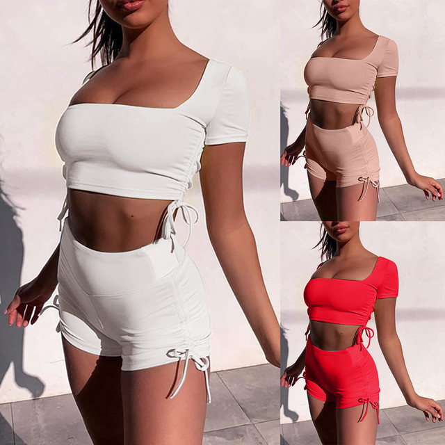 Fashion Womens Sexy Solid Vest Sports Fitness Set Elastic Tops+shorts 2 Piece Set Women Clothing Summer Tracksuit Sportwear #3 2