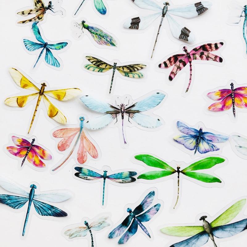 40 шт./упак. насекомых Стрекоза Бабочка ПВХ образца декоративные стикеры сделай сам книга альбом украшения