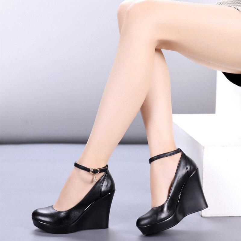 Moda tornozelo cinta alta cunhas plataforma bombas para mulher casual couro genuíno preto sapatos de trabalho saltos altos