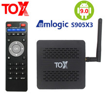2020 tox1 amlogic s905x3 smart android 9.0 caixa de tv 4gb ram 32gb rom 2.4g 5g wifi bluetooth 1000m lan usb 3.0 4k hd conjunto caixa superior