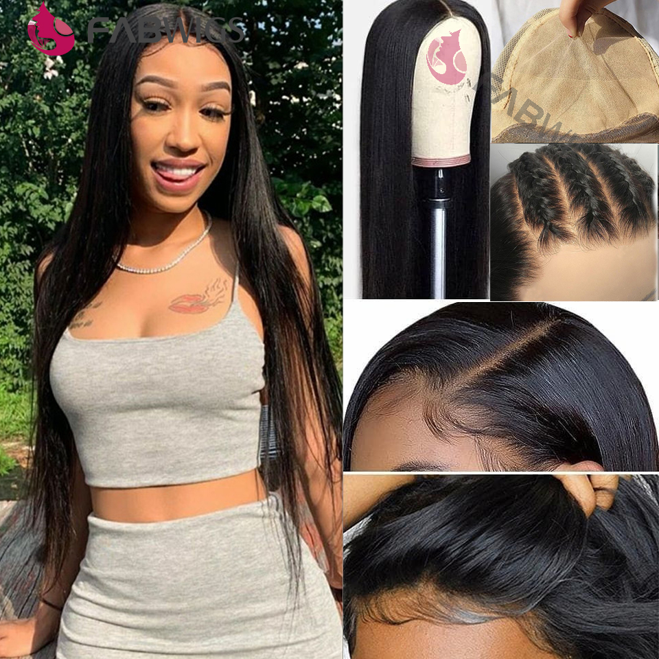 Fabwigs 13x6 Lace Front Human Hair Wigs Pre Plucked  Invisible Fake Scalp Wig Transparent Lace Bleached Knots Remy Hair