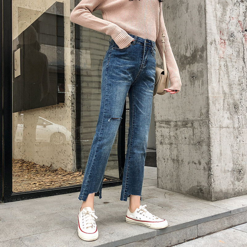 2019 Autumn Clothing Large GIRL'S Large Size Jeans Women's With Holes 200 Of Fat Mm Capri Pants A Generation Of Fat