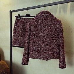 Frühling Herbst Revers Tweed Kurze Jacke Schlank Wrap Mini Rock Zwei Stück Set Streetwear Fashion 2020 Zweireiher Tweed Jacke