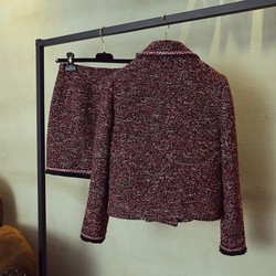 Primavera otoño solapa Tweed Chaqueta corta estrecha abrigo Mini falda de dos piezas conjunto Streetwear moda 2020 chaqueta de Tweed doble botonadura