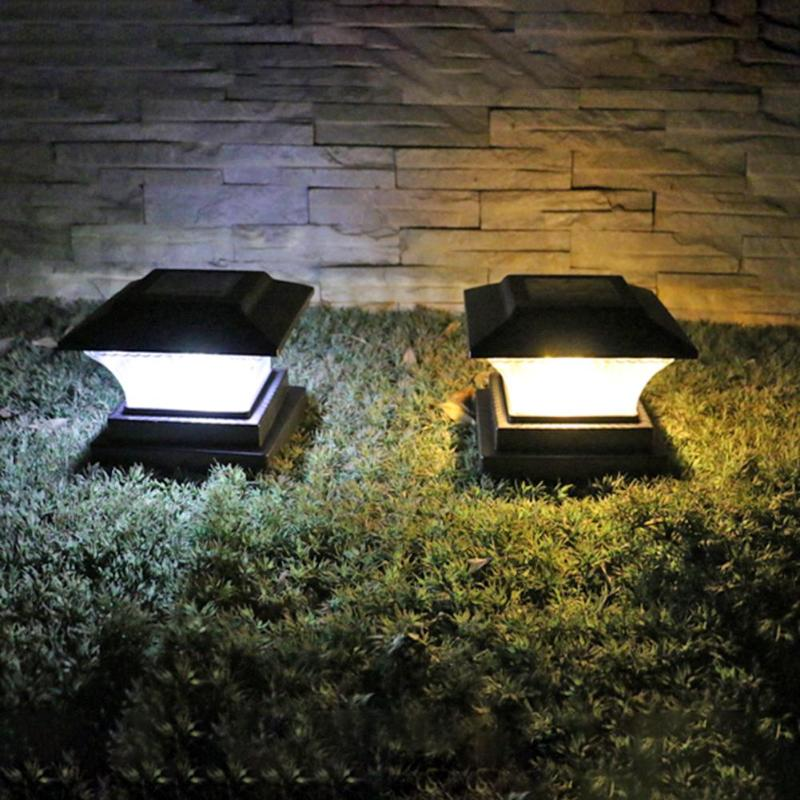 Solar Power LED Pillar Lamp Outdoor Garden Fence Lamp Yard Post Cap Lights