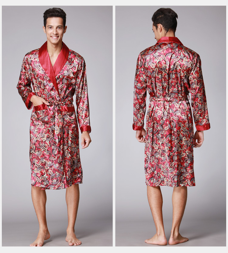 Bath Robs For Men Men's Dragon Robes Chinese Traditional Male Sleepwear Men Kimono Nightwear Kimono Dressing Gown Men