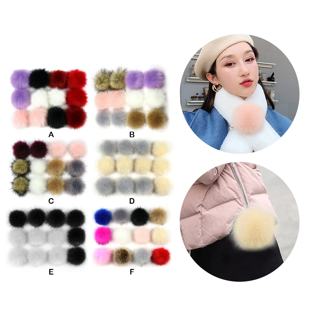 12pcs 8cm Faux Fur Pom Poms Pompoms With Press Buckle For Knitting Hats Shoes Scarves Bags Keychains DIY Crafts Accessories