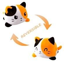 Gato reversível gato crianças macio presente plushie animais de pelúcia dupla face flip boneca bonito brinquedos peluches para crianças gilrs brinquedo pulpos