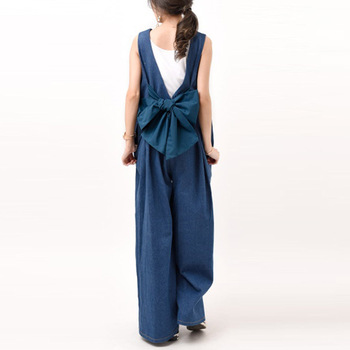 Japan Summer Casual Loose Wide Legs Jumpsuit Rompers Women Blue Sleeveless Oversized Cute Bowknot Korean Ladies Long Jumpsuit plus size plain loose wide legs jumpsuit
