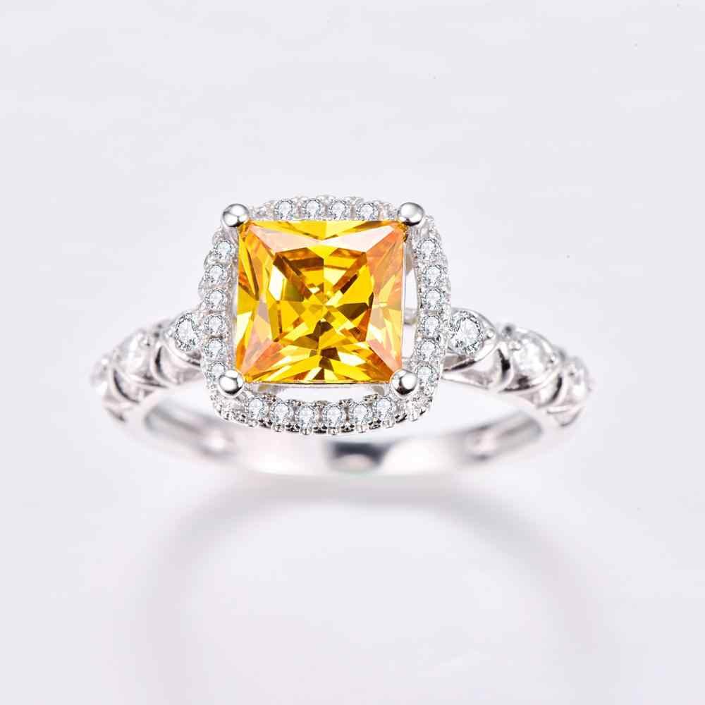 J.C Princess Cut Citrine & White Topaz 925 srebrny pierścionek rozmiar 6 7 8 9 kobiety biżuteria na przyjęcie koktajlowe prezent