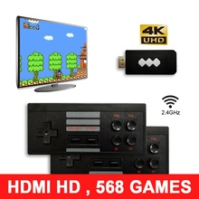 4K HDMI Handheld TV Video Game Console Built in 568 Classic Games Mini Retro Game Console Dual Wireless Game Controller Players цена 2017
