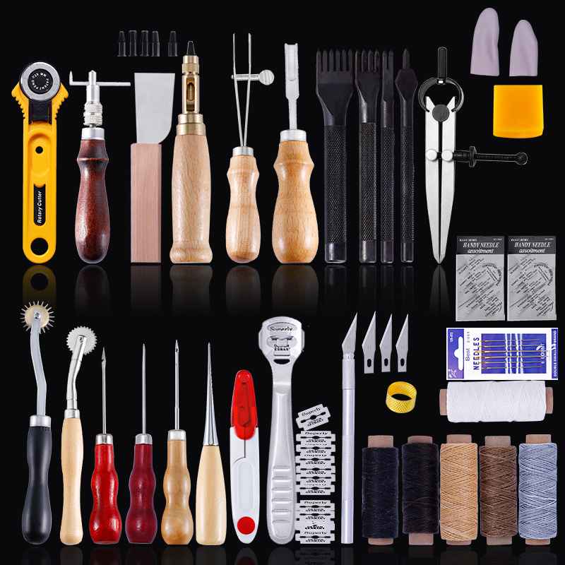 MIUSIE Professional Leather Craft Tools Kit Hand Sewing Stitching Punch Carving Work Saddle Groover Set  Accessories DIY Tool