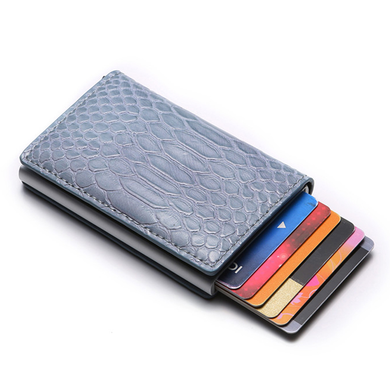 BYCOBECY Card Wallet Suitcase Business-Card-Holder RFID High-Quality PU Aluminum-Box
