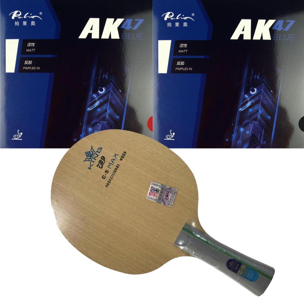 Original Pro Table Tennis PingPong Combo Racket: RITC 729 Friendship C-5 Blade With 2x Palio AK47 BLUE Matt Rubbers