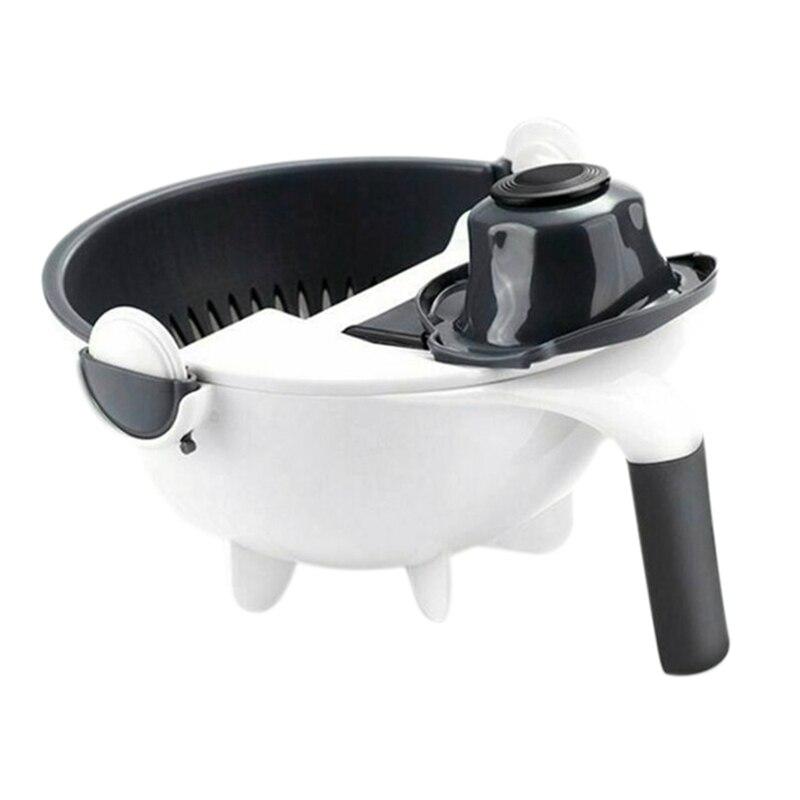 -Magic Rotate The Vegetable Cutter With Drain Basket Multi-Functional Kitchen Veggie Fruit Shredder Grater Slicer