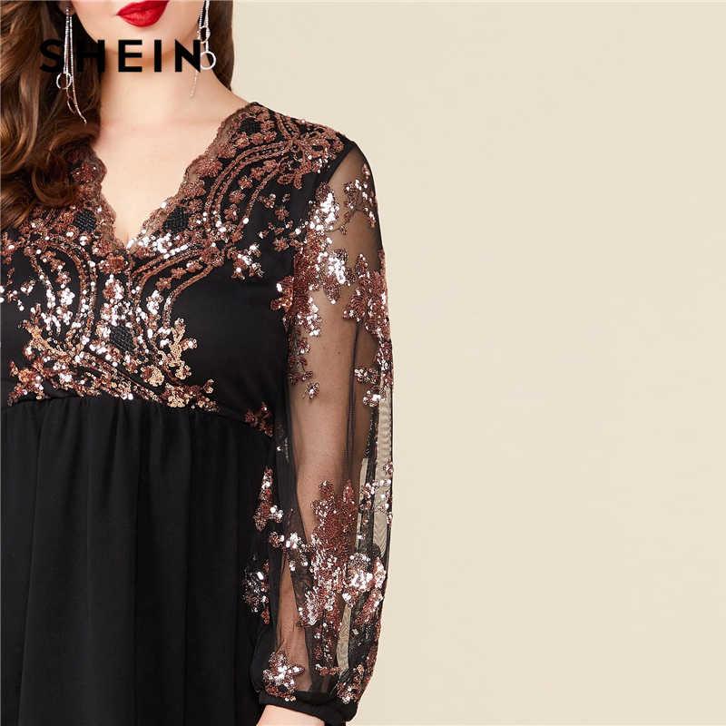 SHEIN Plus Größe Schwarz V Neck Floral Kontrast Pailletten Mesh Hülse Flare Kleid Frauen Sommer Herbst Glamorous Party EINE Linie kleider