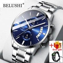 Belushi relogio masculino relógios homem relógio à prova dwaterproof água erkek kol saati relógio de quartzo masculino cronógrafo relógio de aço montre homme