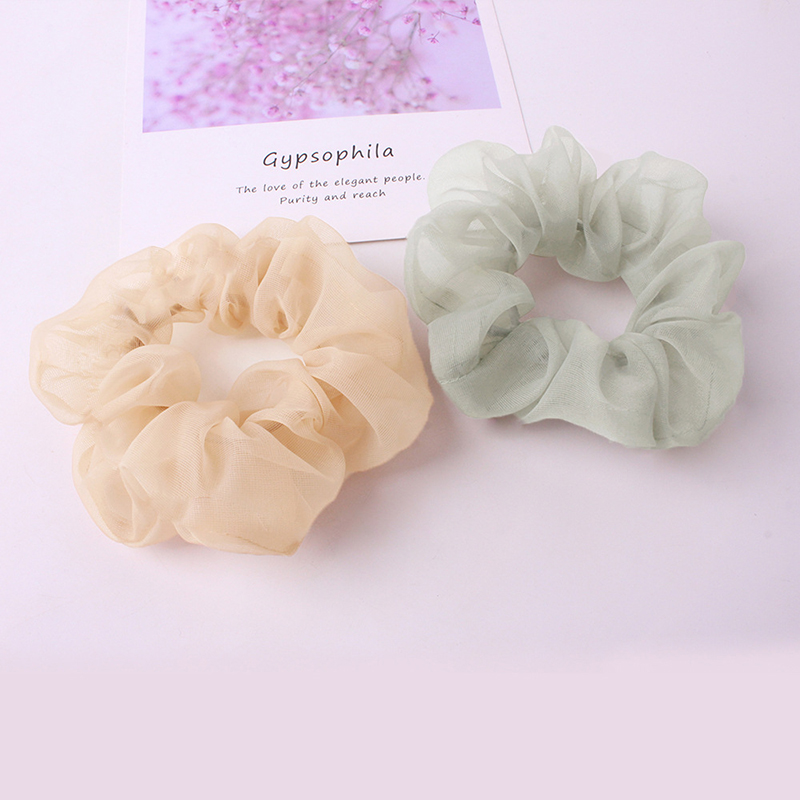 Women Transparent Cloth Hair Accessories Solid Chiffon Scrunchies Elegant Sweet Solid Color Mesh Headwear Girls Summer Hair Ties