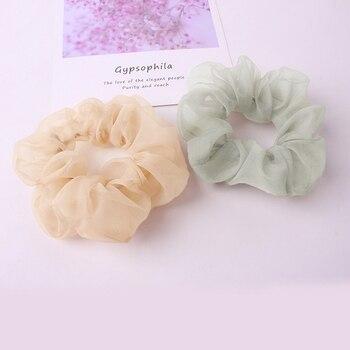 Women Transparent Cloth Hair Accessories Solid Chiffon Scrunchies Elegant Sweet Color Mesh Headwear Girls Summer Ties