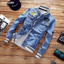 Mens Denim Jacket Spring Casual Slim Fit Stand Collar Pilot Jackets Male Streetwear Men Loose Jean Coats Zipper 2020 New Fashion