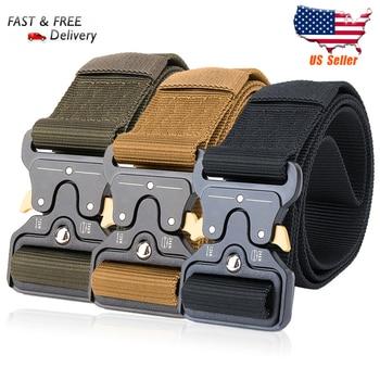 125CM Wide belt Tactical Belts Nylon Military Army belt Outdoor Metal Buckle Heavy Duty Training Hunting Belt