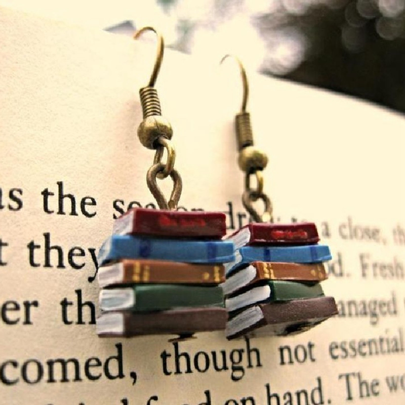 Stack of Books Earrings for Women Girl Library Colours Multicolor Book Pendant Earrings Fashion Jewelry Christmas Gifts|Drop Earrings| - AliExpress