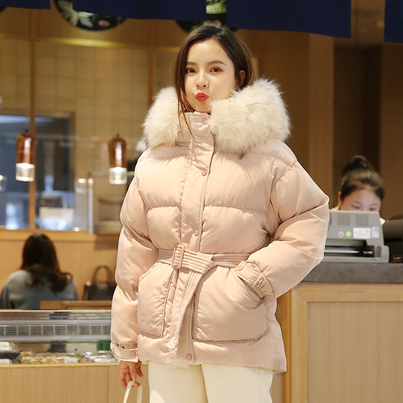W2739 Pink Cotton-padded Clothes Women's Short Down Cotton Fu Da Fur Collar Belt Cotton-padded Clothes 1176 Large Cargo