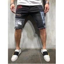 Лето мужские шорты повседневная мода принт рваные уличные стили джинсовая ткань брюки шорты новинка мужские пэчворк высокое качество колено длина джинсы