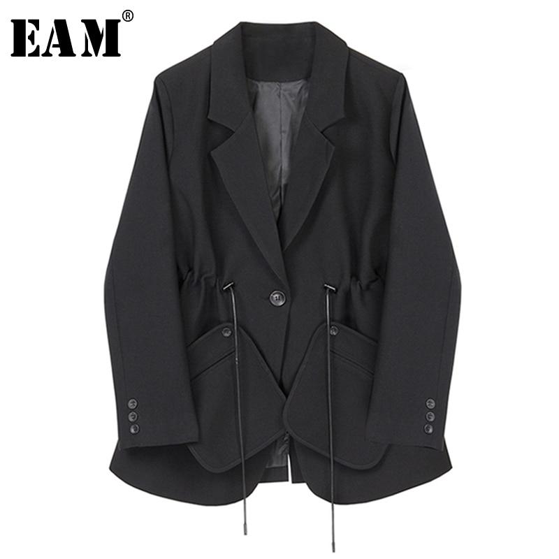 [EAM]  Women Black Bandage Split Big Size Blazer New Lapel Long Sleeve Loose Fit  Jacket Fashion Tide Spring Autumn 2020 1S348